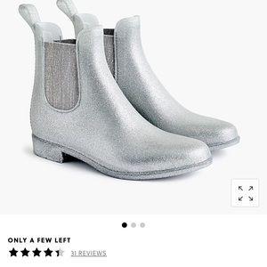 NWOT Jcrew Chelsea Rain Boot Silver Sparkle 8